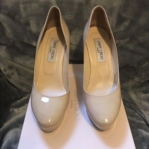 Jimmy Choo nude patent leather pumps, 38.5/8.5